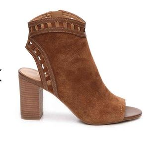 Franco Sarto NEW Cognac Lattice Suede Booties 9.5
